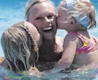 Picture of Mom and 2 kids in a clean swimming pool.